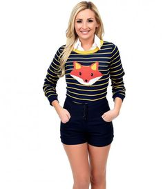 Well, aren't you wily? A sublimely soft separate, this adorable knit sweater is lightweight and supple, in soft yellow stripes against deep navy blue with a fetching fox front and center! Boasting a classic scoop neckline and ribbing detail at the cuffs a