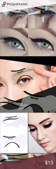 Stencil Models Eye liner Shaper Liner template 2PCS Hot Smokey Eye makeup Eyeliner Stencil Models Eye liner Shaper Bottom Liner template Eye fast easy usage Makeup Tool Makeup Brushes & Tools