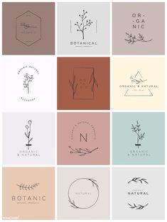 Organic product brand logo vector collection premium image by rawpixel com - Logo Inspiration, Logo Floral, Flower Logo, Logo Design Flower, Wedding Logo Design, Hand Logo, Logo Branding, Product Branding, Product Logo