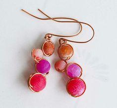 Purple Fuchsia Pink Hyacinth Mosaic Bead Wire Wrap Earrings