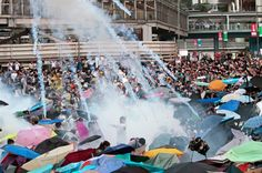 umbrella movement tear gas - Google Search