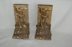 Beach Cast Resin Bookend Set of 2 Gold Silver Ocean 7in tall 2lbs 3oz each