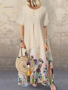 pcs Tunic Pink Green White Day Dresses Polyester Casual Round Neckline Shift Dress Spring Maxi Summer Floral M L Half Sleeve XL XXL Buttons Dress Maxis, Shift Dresses, Plus Size Maxi Dresses, Short Sleeve Dresses, Sleeveless Dresses, Short Sleeves, Casual Summer Dresses, Casual Dresses For Women, Dress Casual
