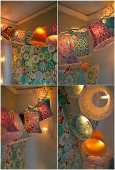 """Colorful mini lanterns using small plastic """"party"""" cups, mod podge, and fabric... I must try this!"""