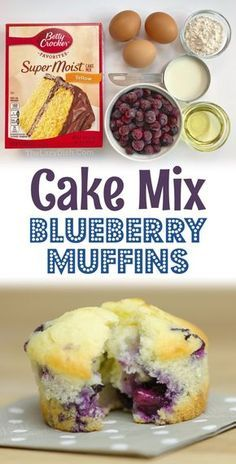 Moist Blueberry Muffins, Blueberry Cookies, Blue Berry Muffins, Blueberry Muffin Cake Mix Recipe, Blueberry Recipes Using Cake Mix, Easy Blueberry Desserts, Simple Muffin Recipe, Blueberry Jam, Blackberry