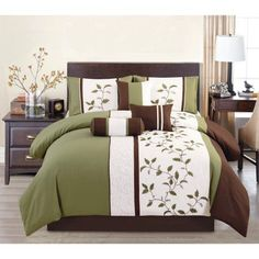 Elight Home Woodchase Embroidered 7 Piece Comforter Set King Bedding Bedroom Luxury Comforter Sets Queen, Queen Comforter Sets, Luxury Bedding, Bedding Sets, Green Comforter, Floral Comforter, Ruffle Bedding, Online Bedding Stores, Bed Spreads