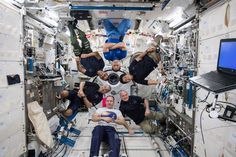 The six-member Expedition 54 crew poses for a lighthearted crew portrait inside the Japanese Kibo laboratory module on Feb. 18, 2018. Three of the crew members are packed up and prepared to return to Earth today, Tuesday, Feb. 27.