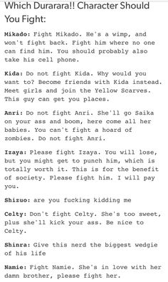 Which characters should you fight in Durarara?