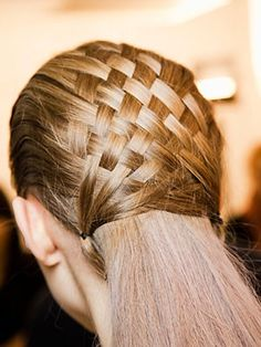 Lovely Basket Weave. But I would take the remainder and either leave it like it is or put it in a low pony tail.