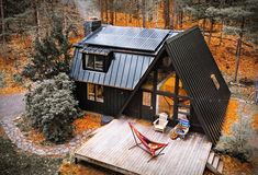 Looking for a unique vacation cabin in NY state to unwind, disconnect, and enjoy some time in the mountains? Deep in the heart of the Catskill mountains, this beautiful off grid A-frame cabin sits on a two acre property with private access, surrounde Loft Interior, Interior Garden, A Frame House Plans, Unique Vacations, Off Grid Cabin, Off Grid House, Off The Grid Homes, Cabin In The Woods, Building A Shed
