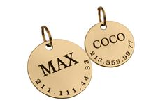 Personalized Dog ID Tag Custom Engraved Brass Stainless Steel SIZE SMALL WITH DOUBLE SIDE ENGRAVING IS $5.99  SIZE LARGE WITH DOUBLE SIDE ENGRAVING IS $6.99  A solid brass dog tag for your pet, made from solid 1mm (20 Gauge) brass or Stainless Steel. With custom engraving of your dogs name and phone number on one side and contact information on the other side. All dog tags are cut from 1mm brass or steel , stone washed and polished to get nice feel and great look. Each tag comes with a…