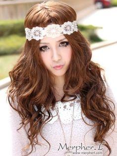Fashion Long Light Brown Body Wave Kanekalon Wig Hairpiece Skin Top Design