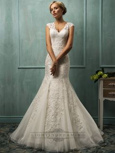 Fit and Flare Cap Sleeves V-neck Lace Wedding Dresses with Illusion Back - LightIndreaming.com