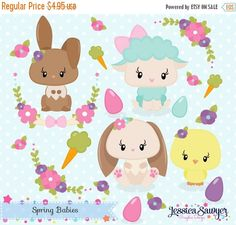 80% OFF - INSTANT DOWNLOAD, spring clipart and vectors for crafts and products