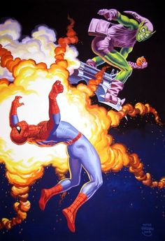 Spider Man Vs Green Goblin by Jean Frisano