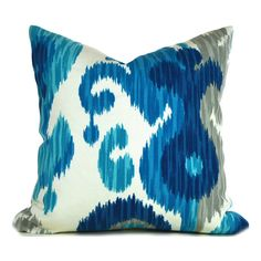 Outdoor Pillow Covers ANY SIZE Decorative Pillow Cover Ikat Pillow Blue Pillow Braemore Journey Ikat Seaglass