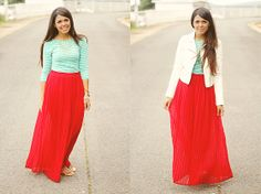Forever 21 Pleated Red Skirt, Forever 21 Beige Leather Jacket, Forever 21 Striped Mint Top