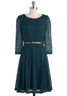 Pointelle Me All About It Dress - Mid-length, Green, Belted, Casual, A-line, Long Sleeve, Vintage Inspired, Fall