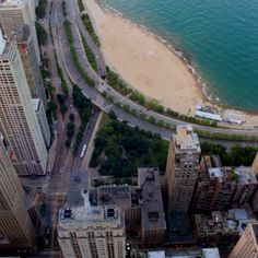 View of Lake Michigan from the Hancock Building in Chicago