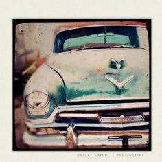 Vintage Car - boys room wall art, retro car photography - Betty Sue - man cave wall art, teal, amber, etsy home decor