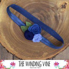 Blue Felt Flower Headband for Baby, Child, Teen, or Adult - Custom Elastic Color