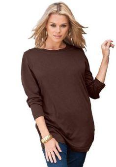 e74ed07d00 Roamans Women s Plus Size Crew Neck Long Sleeve Ultimate Tee (Basil