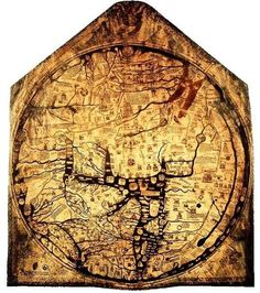 Mappa Mundi is a way of expressing various social trends using a map. This is a good example of a famous Mappa Mundi of Hereford Cathedral, Hereford, England, This map includes dragon locations Old Maps, Antique Maps, Vintage Maps, Fernand Deligny, Early World Maps, Hereford Cathedral, Medieval World, Medieval Gothic, Map Globe