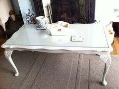 #Shabby chic ornate coffee #table with glass would look fab with family photos underneath :) x  www.facebook.com/VintageChicHomeShabbyChicFurniture @Vintage Chic Home