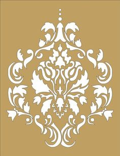Damask flourish wall stencil