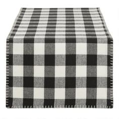 Black and Ivory Buffalo Check Table Runner by World Market Linen Tablecloth, Table Linens, Tablecloths, Buffalo Check Table Runner, White Buffet, World Market Store, Elegant Table, Printed Linen, Affordable Home Decor