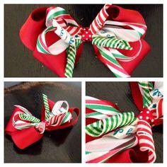 Christmas hair bow by jmariecreations on Etsy