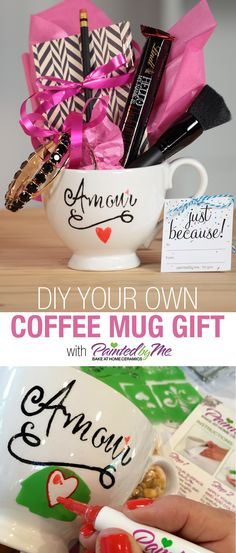 DIY your own coffee mug gift in minutes using PaintedbyMe Markers and stencils. Feel with fun treats for an extra special giftable.