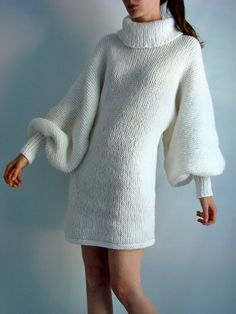 Vintage White Knit Balloon Sweater Dress  stylehive.com