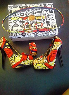 Ankara Wax Fabric shoes with match watch earrings and bangle bracelet Casual European style
