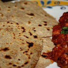 Indian Chapati Bread with red indian curry