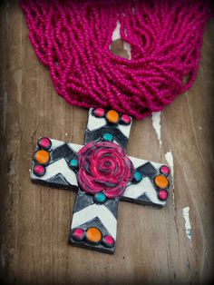Chevron Cross Necklace by GrittynPretty on Etsy