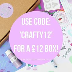 To celebrate a whole year of my crafty business The Glittery Hands Box I'm offering 12.00 boxes stuffed full of crafty loveliness! Use code: Crafty12 for a 12 box. If you didn't know the Glittery Hands Box is a craft subscription box delivering you a monthly treat of craft supplies and loveliness! Why not give it a try! @glitteryhandsbx