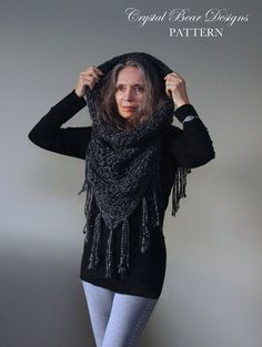 Crochet Hooded Cowl PATTERN / Hood Scarf / Beaded Fringe Trim / Poncho / Easy Crochet Pattern / Made in Canada
