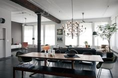 NYC loft apartment of designer Dean Di Simone // Dining room pendant by Gino Sarfatti, 1958