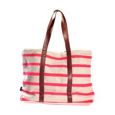 Canvas Leather Tote Pink