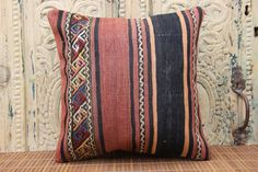 Handwoven Kilim Pillow Cover 16 X 16 Desinger by ANATOLIANRUGS