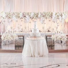 A stunning floral bridge like this certainly draws attention to the head table ~ Wink Design and Events Extravagant Wedding Decor, Luxury Wedding, Reception Decorations, Event Decor, Bridal Party Tables, Wedding Design Inspiration, Blush Pink Weddings, Magical Wedding, Wedding Designs