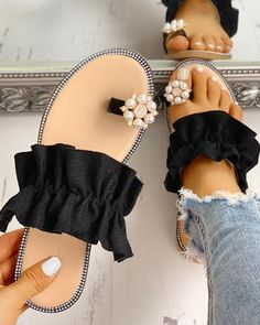 Toe Ring Beaded Frill Hem Casual Sandals We Miss Moda is a leading Women's Clothing Store. Offering the newest Fashion and Trending Styles. Trend Fashion, Fashion Shoes, Womens Fashion, Fashion Outfits, Fashion Jewelry, Cute Shoes, Me Too Shoes, Casual Rings, Studded Flats