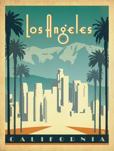 I really like this vintage travel poster uses negative space to make it look like the sun is shining onto the LA skyline.