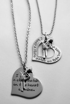 I keep a close watch on this heart of mine necklace - Gun Necklace - Heart and Gun Necklace - Johnny Cash necklace on Etsy, $25.00