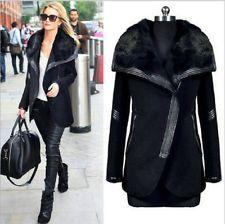 Winter womens warm wool fur collar long coat jacket trench outwear overcoat hot!
