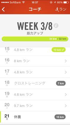 今日までの一週間ランプログラム実行結果!目標距離32km実行距離34km。4ラン(月曜は2回、平均8.4km)です。