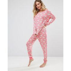 Chelsea Peers Christmas Cookie Long Pyjamas ($46) ❤ liked on Polyvore featuring intimates, sleepwear, pajamas, pink, pink pjs, christmas pjs, j.crew pajamas, christmas pajamas and pink sleepwear