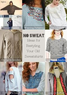#upcycle old sweatshirts #DIY #refashion