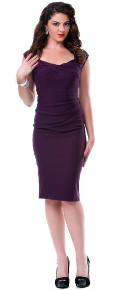 SALE! Stop Staring! 1940s Style Eggplant Fitted Love Wiggle Dress - Unique Vintage - Prom dresses, retro dresses, retro swimsuits.